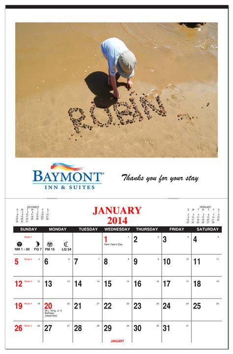 custom full color picture calendar stapled calendar company