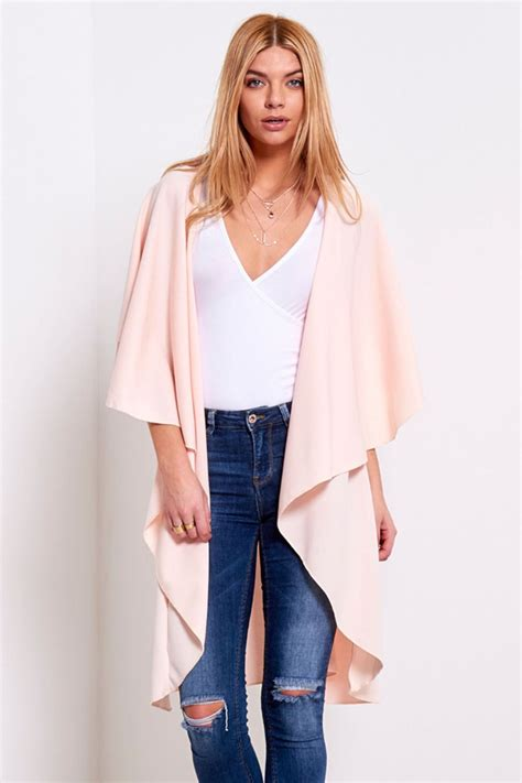 Ladies Womens Waterfall Open Front Sleeve Top Cape
