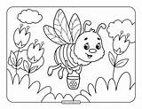 Bee Coloring Printable Pages sketch template