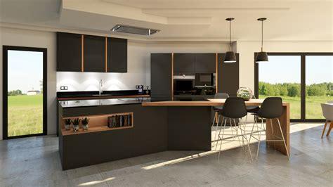 cuisine gris anthracite bois et cuivre avec îlot design