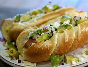 three cheese mexican style sausage dogs with avocado