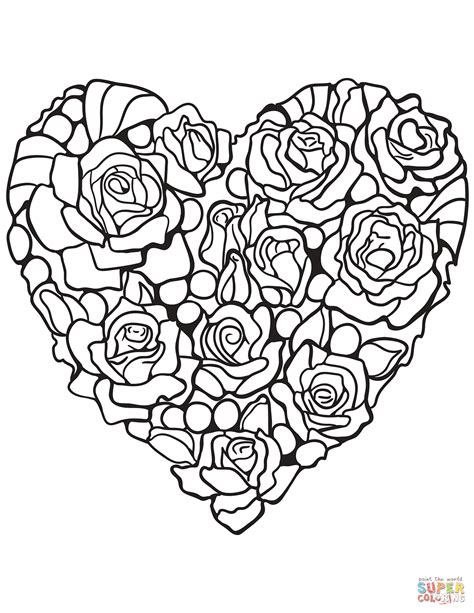 Heart Made Of Rose Coloring Page Free Printable Coloring