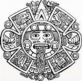 Aztec Calendar Coloring Tattoo Stone sketch template