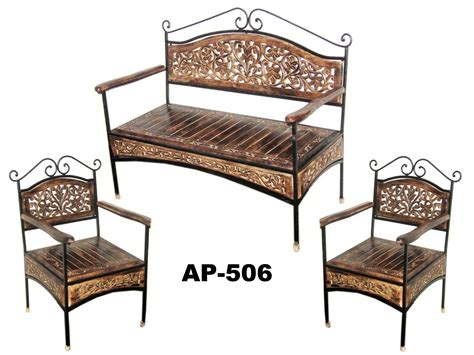 wrought iron  wood furniture reclaimed  metal dining