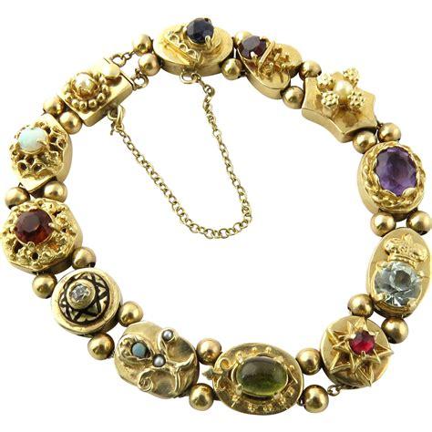 gold bracelet 14k vintage 14k yellow gold slide charm bracelet with