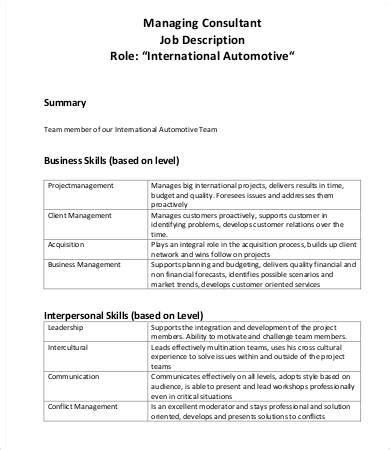 consultant job descriptions