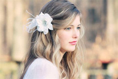 bridal hair flower fascinator white bridal hair clip