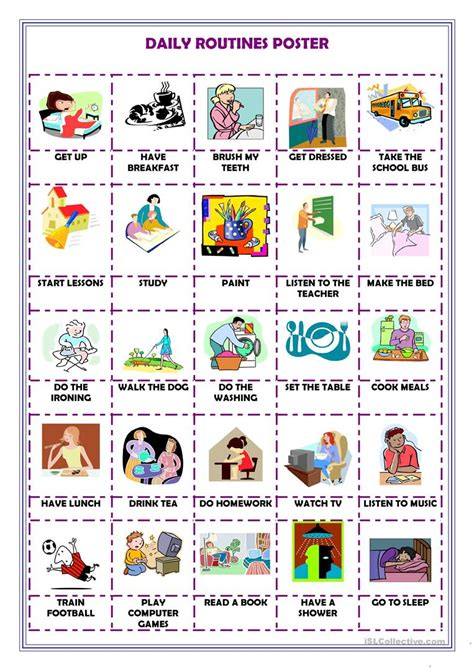 daily routines poster worksheet  esl printable worksheets   teachers