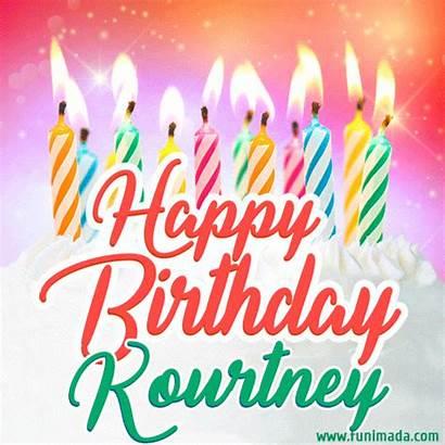 Kourtney Birthday Happy Lit Candles Cake Funimada