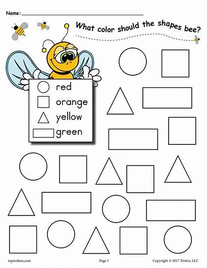 Worksheets Bee Shapes Coloring Pages Activities Themed