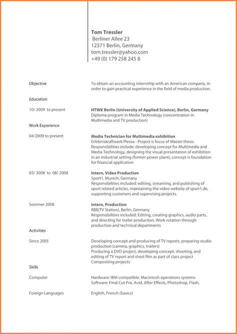 Cv Englisch Vorlage by Curriculum Vitae Vorlage Englisch