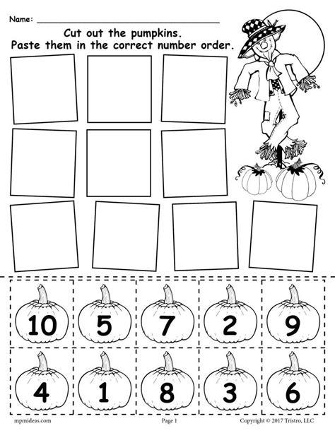free printable pumpkin number ordering worksheet 1 10 supplyme