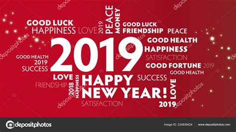 Happy New Year 2019 Greeting Card Vector Illustration Red