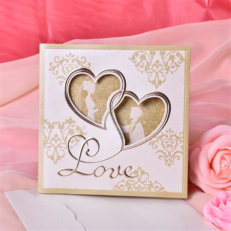 Heart Style Tri Fold Invitation Cards (Set of 50