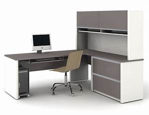 Modern l shaped white gray solid wood desk with shelf and for White gray solid wood office