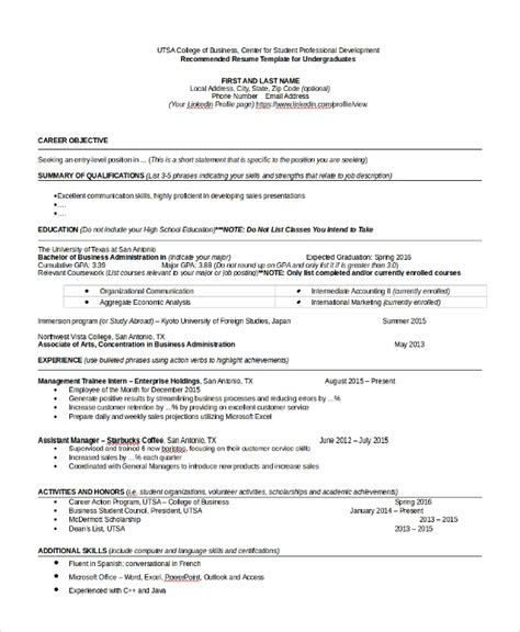 College Grad Resume by Sle College Graduate Resume 8 Free Documents