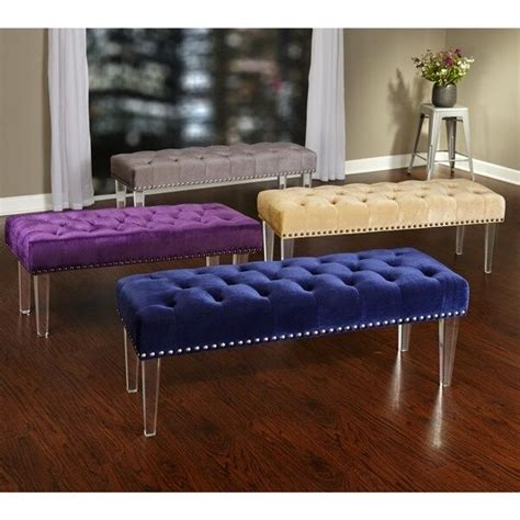 Bench Footstool by Upholstered Bench Modern Entryway Furniture Velvet Tuffed