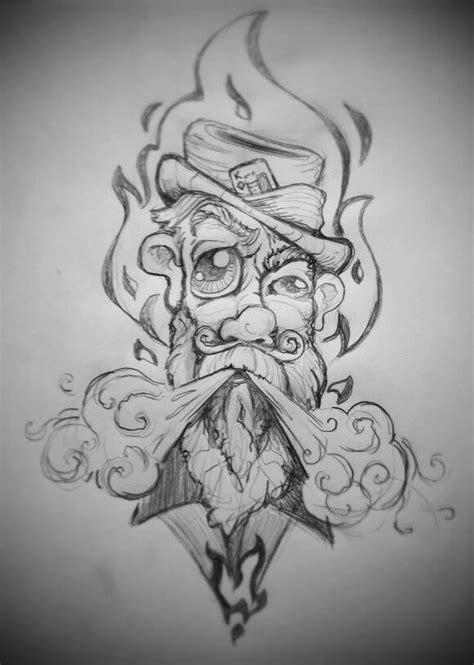 Drawing hobo face, blowing smoke. By John Schipp