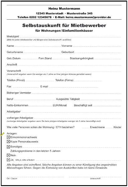 Selbstauskunft Wohnung Formular by Selbstauskunft Mieter Vorlage Word Kebut