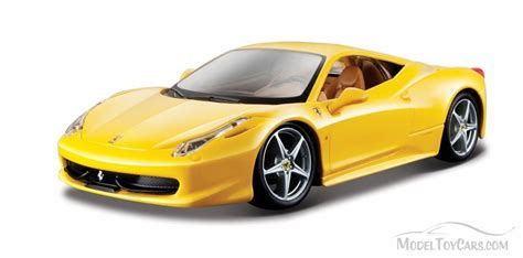 toy ferrari 458 ferrari 458 italia hard top yellow bburago 26003 1 24