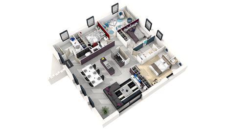 plan 3d chambre plan maison carree 4 chambres
