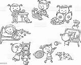 Daily Activities Outline Little Vector Cartoon Clip Illustration Child Illustrations Activity Breakfast Bedtime Similar Vectors sketch template