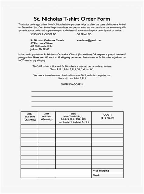 Large Size Of T Shirt Order Form Blank Template Word