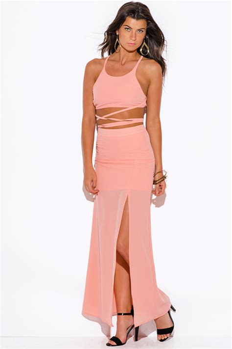 Shop peach pink high slit crepe evening cocktail party maxi two piece set dress