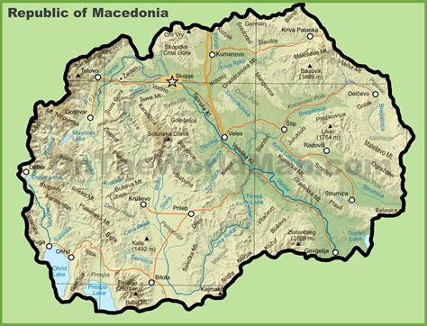 Macedonia Physical Map Image Collections Diagram Writing