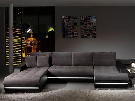 canapé d 39 angle fixe design en tissu gris pu noir alamak