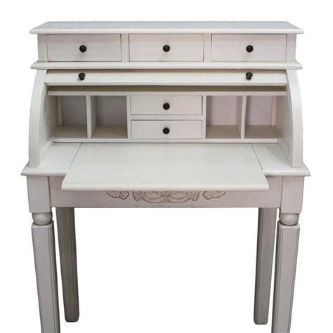 white desk with wood top international caravan carved wood roll top white secretary