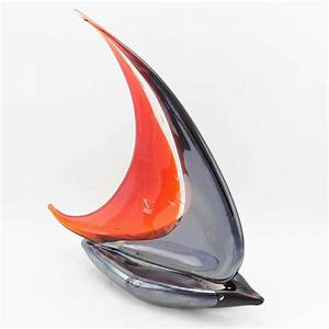 Murano Glass Sailboat Glass Sailboat Sculpture Red and