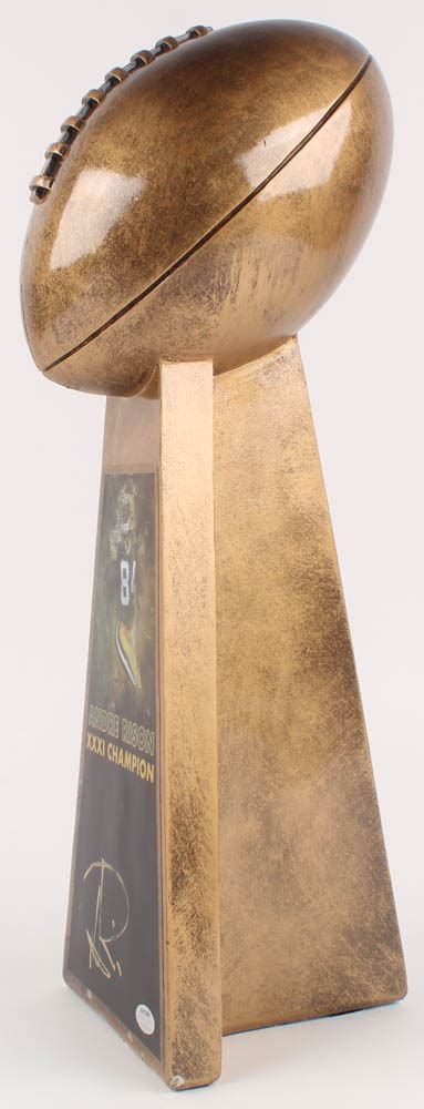 Andre Rison Packers Signed Large Gold Lombardi Trophy