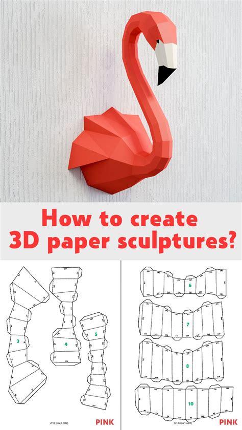papercraft flamingo diy paper craft  template