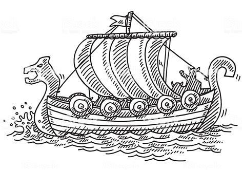 Viking Boat Drawing Easy by Viking Ship Drawing Stock Vector More Images Of