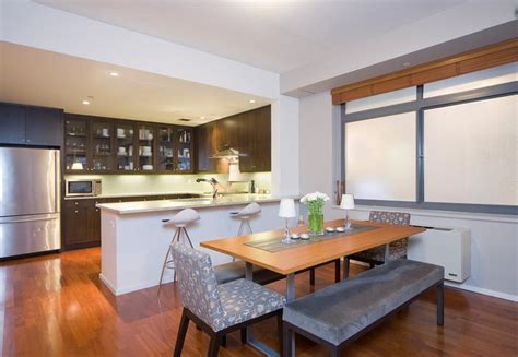 dining and kitchen design kitchen dining area contemporary kitchen new york by halcyon design llc