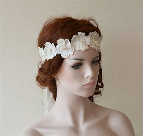 wedding headband wedding pearl flower headband bridal
