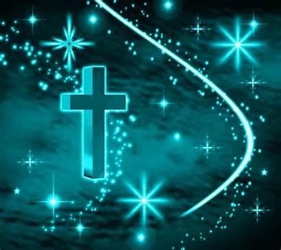 Cross Background Turquoise Stars Cool Christian Orange