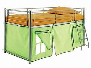 Lit Cabane Mezzanine : lit 1 personne mezzanine avec rideau cabane le tronquay 14490 ~ Melissatoandfro.com Idées de Décoration