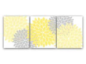 home decor wall art yellow and gray flower burst art