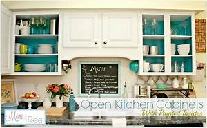 Open Cabinets With White, Aqua, Lime Green, & Silver