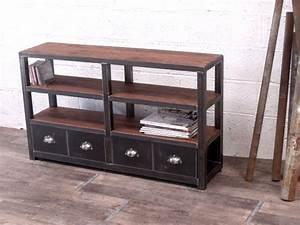 Etagere Industrielle Vintage : meuble tag re industrielle en ch ne et acier micheli design ~ Teatrodelosmanantiales.com Idées de Décoration