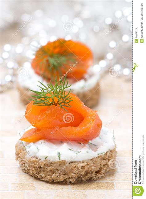 rye bread canapes appetizer canape with rye bread cheese salmon royalty free stock photos image 34678778