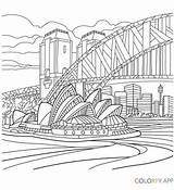 Coloring Pages Sydney Colouring Opera Bridge Harbour Adults Adult Architecture Colour Books Tattoo Uploaded User sketch template
