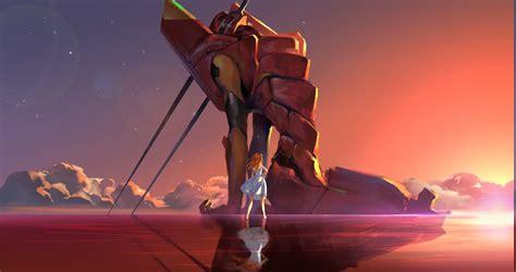 Hd Movie Wallpapers 1080p Neon Genesis Evangelion Asuka Langley Soryu Eva Unit 02 Water Reflection Clouds Stars