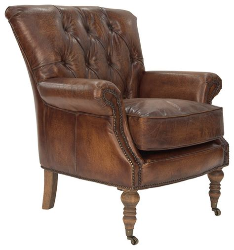 Traditional Armchair by Clerkenwell Armchair In Antique Leather Traditional