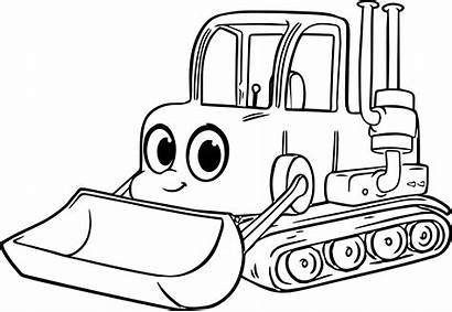 Coloring Pages Excavator Bulldozer Equipment Cartoon Drawing