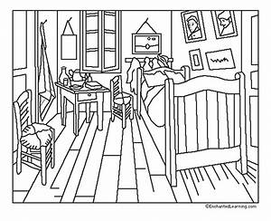 van gogh chambre coloriage van gogh coloriages pour With dessin chambre d enfant
