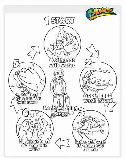 Washing Hand Coloring Hands Pages Steps Proper