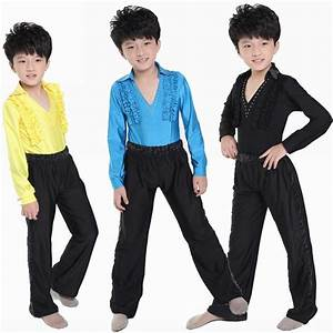 Boy Latin Dancewear Lace Blue White Black Male Ballroom Dance Costume Children Modern Dance ...